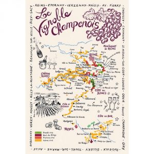 Carte De La Champagne - Champagne Collection - Torchons & Bouchons Kitchen Towel
