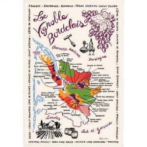 Carte Des Bordeaux - Bordeaux Collection - Torchons & Bouchons Kitchen Towel