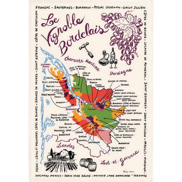 Carte Des Bordeaux - Bordeaux Collection - Torchons & Bouchons Kitchen Towel