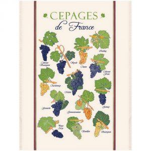 Planche Des Cepages De France - Vins & Saveurs Collection - Torchons & Bouchons Kitchen Towel