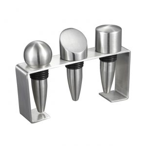 Barlow Stainless Steel Wine Stoppers with Rectangular Stand