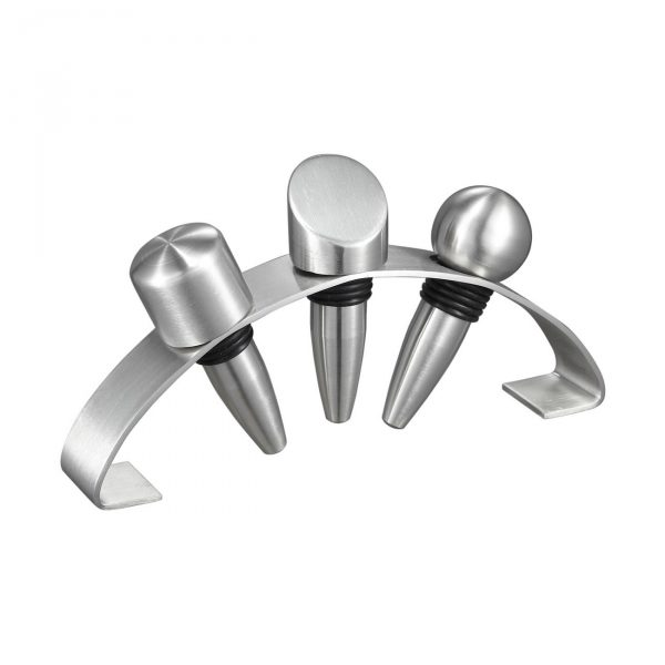 Barlow Stainless Steel Wine Stoppers with Arched Stand